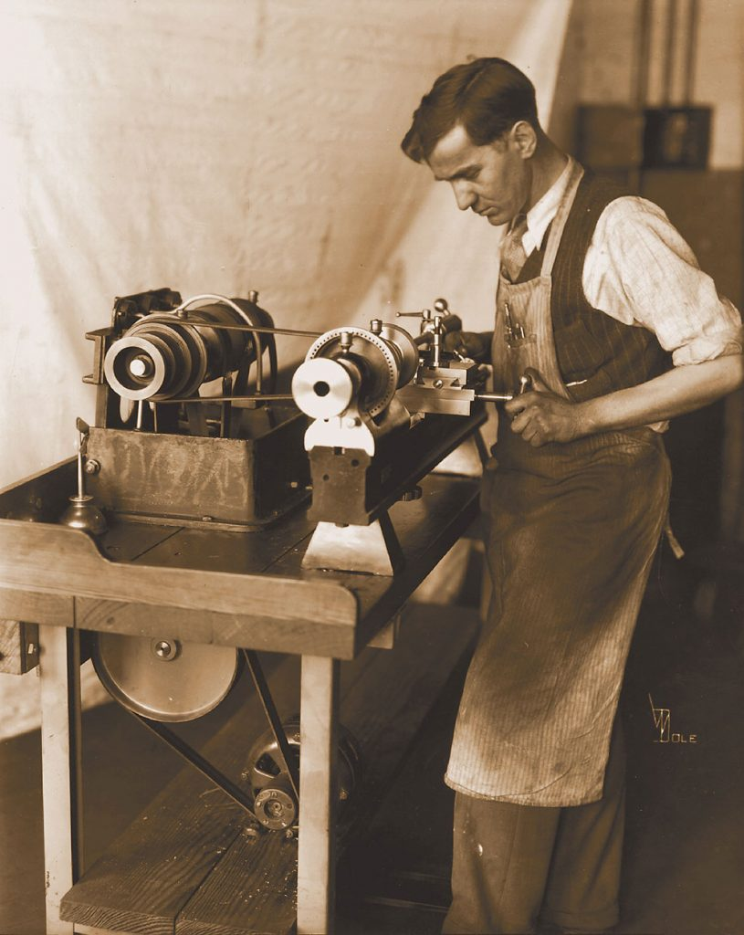 Man Working on Lathe at Rivett Circa 1928