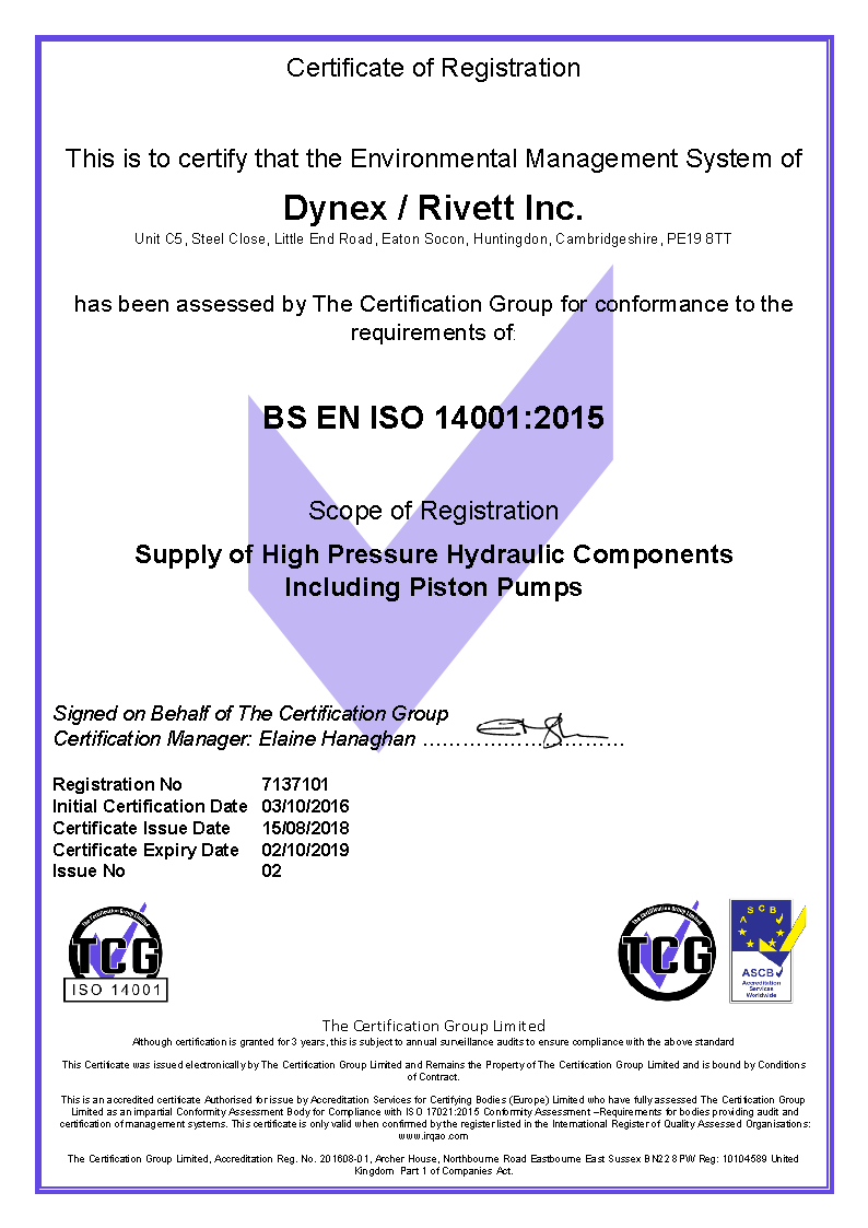 Dynex UK ISO 14001:2015 Certificate
