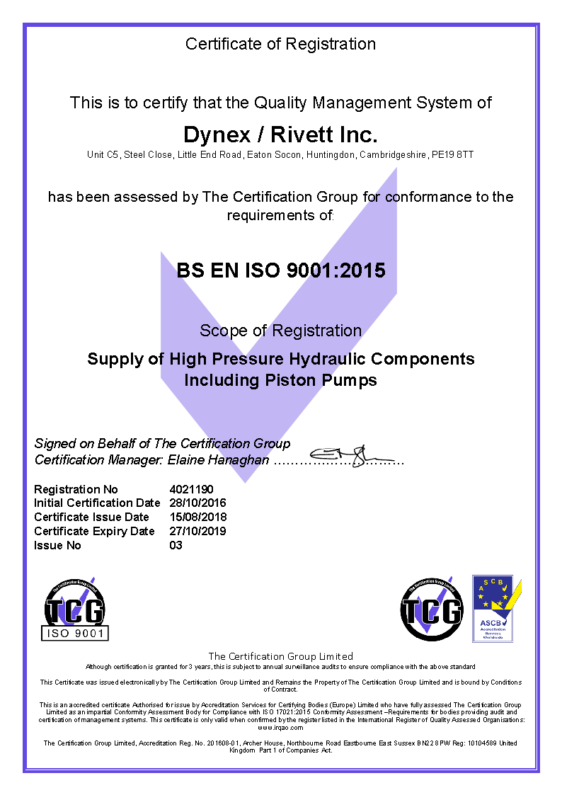 Dynex UK ISO 9001:2015 Certificate