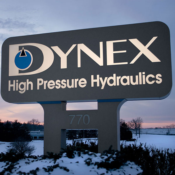 Dynex Hydraulics Sign in Winter Sunset