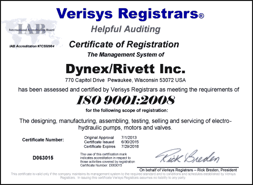 Dynex Rivett ISO 9001:2008 Certification Image