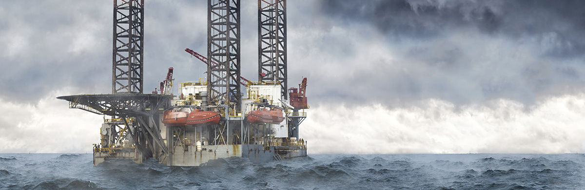 Oil Rig in Stormy Seas