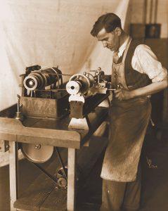Man Working on Lathe at Rivett Circa 1928