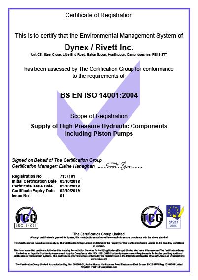 Dynex Rivett OHSAS 14001:2004