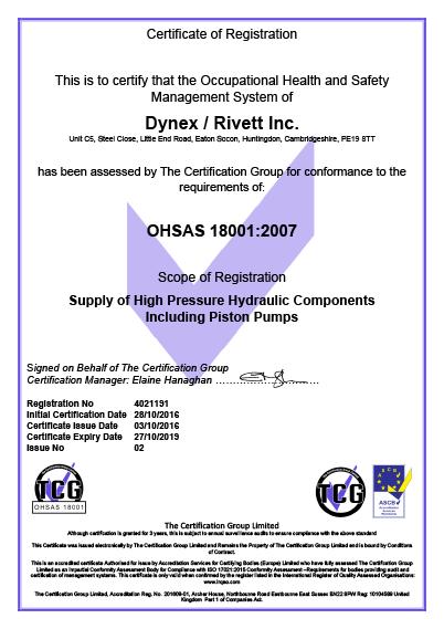 Dynex Rivett OHSAS 18001:2007