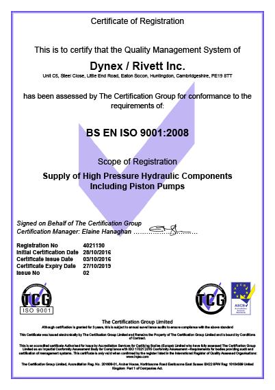 Dynex Rivett ISO 2001:2008