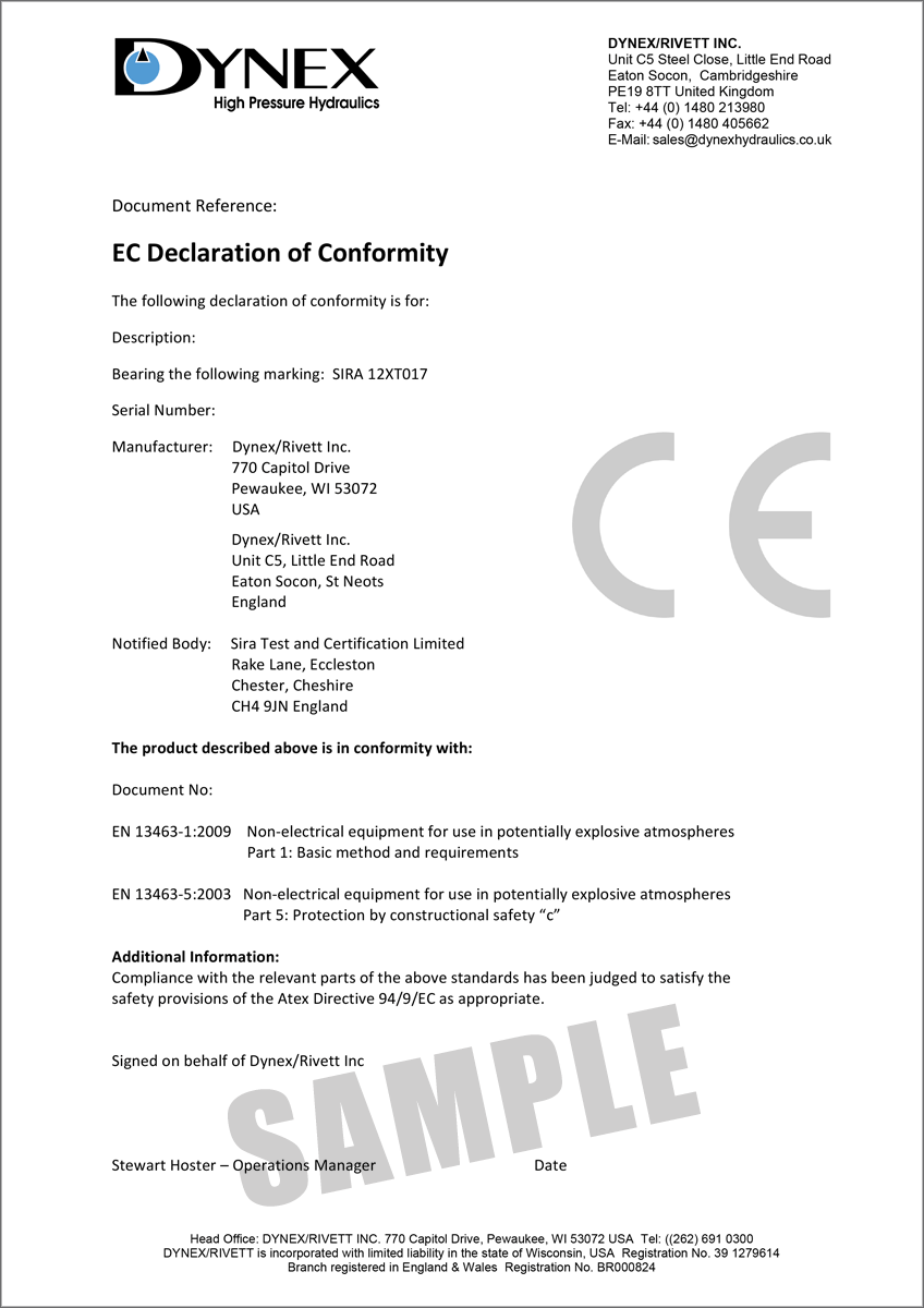 Dynex Rivett ATEX Declaration of Conformance