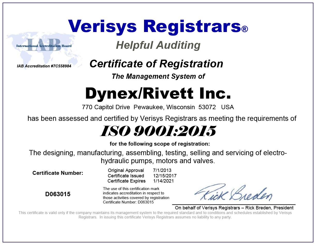 Dynex Rivett ISO 9001:2015 Certification Image