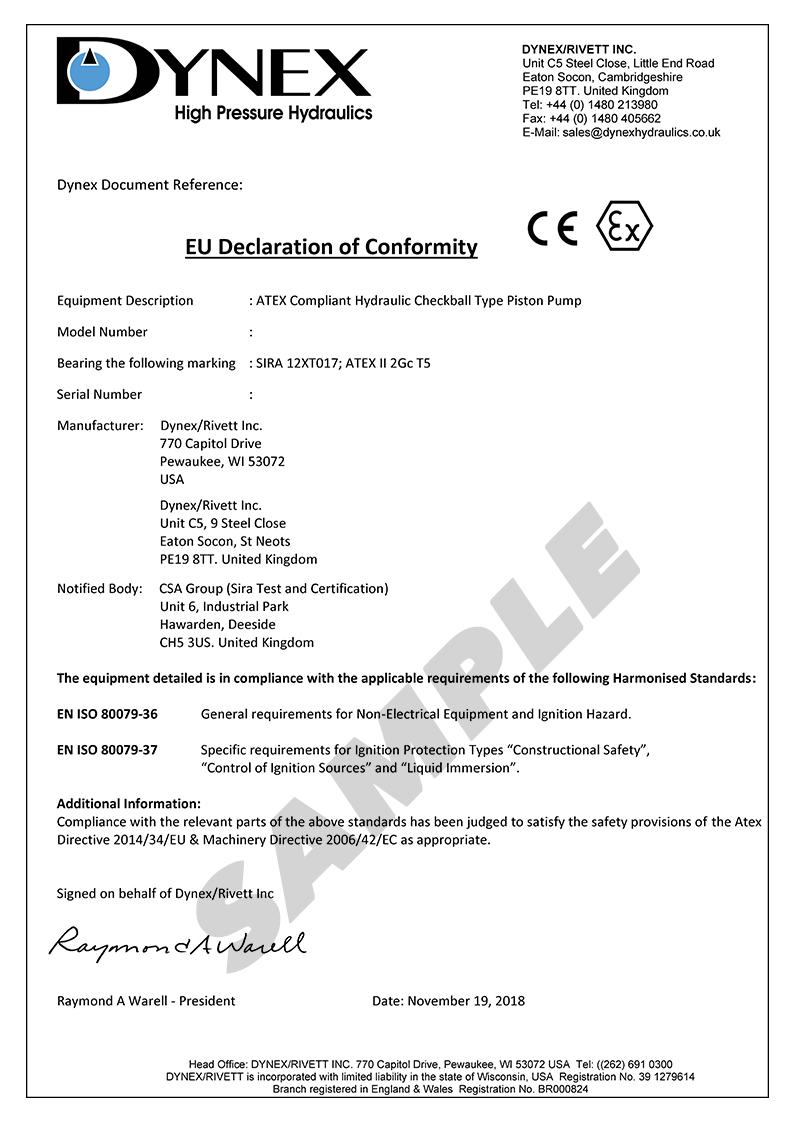 ATEX Declaration of Conformance