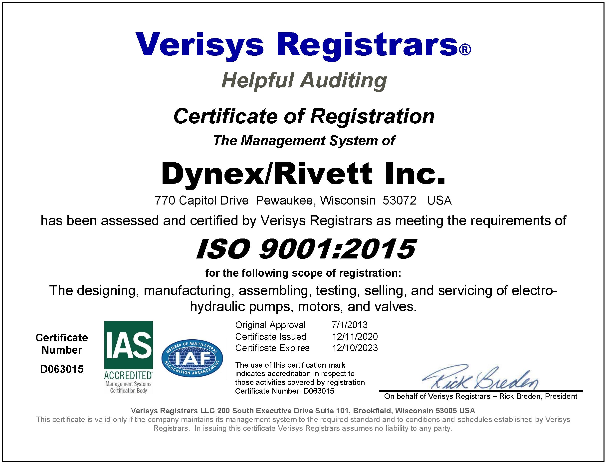 Dynex-Rivett, Inc. ISO 9001 2015 Certificate 2020